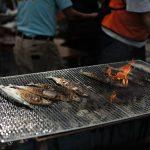 西日本豪雨災害の野村で宮城県女川のサンマを食す