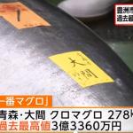 今年最初の豊洲市場でのマグロのセリ。すしざんまいの社長3億3,360万円で落札。釣った人にはいくら入るのか?ブガッティシロンが買えるぞ!