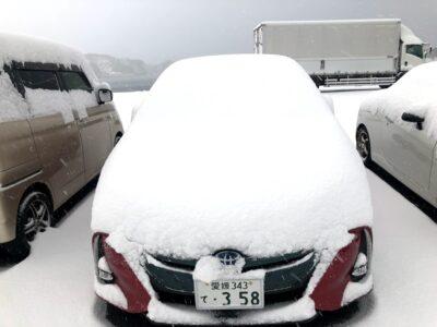 南国四国にも雪が積もる。黄砂が核になってる。